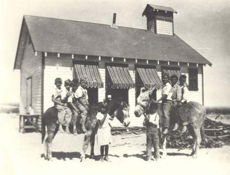 Nine Students at the 29 Palms Schoolhouse - 1928